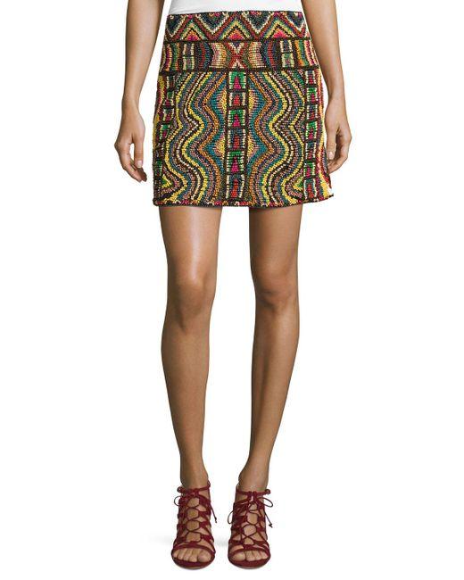 Valentino   Multicolor Geometric Beaded Mini Skirt   Lyst