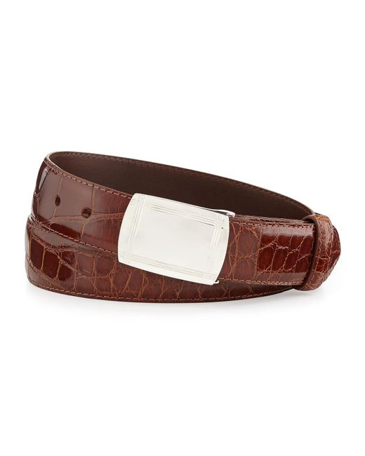 W. Kleinberg | Brown Glazed Alligator Belt With Plaque Buckle for Men | Lyst