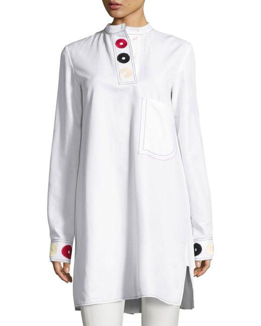 Derek Lam | White Embroidered Band-collar Shirtdress | Lyst