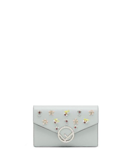 Fendi - Gray Small Leather Wallet On A Chain With Flowers - Lyst