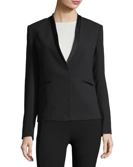 Rag & Bone | Black Bowman Collarless Crepe Blazer | Lyst