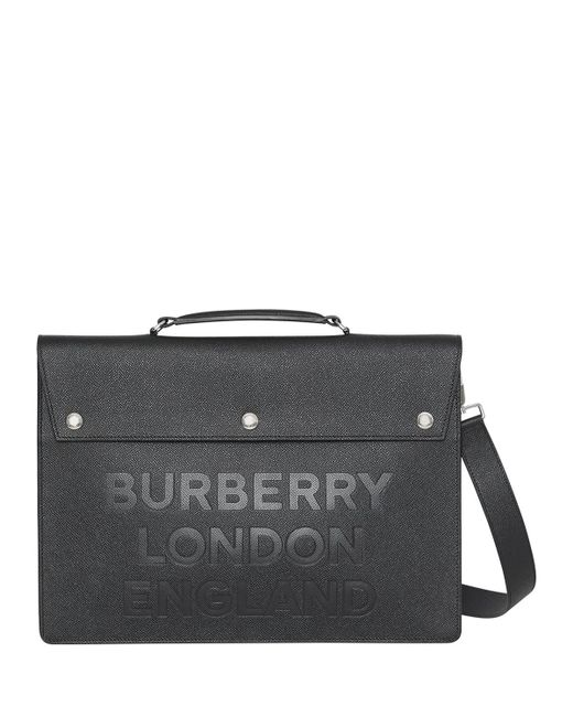 Burberry - Black Triple Stud Logo Embossed Leather Document Case for Men -  Lyst ... 7aace0d058668