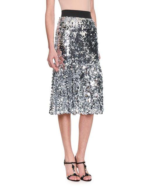 Dolce & Gabbana - Metallic Elastic-waist A-line Paillette Embroidered Skirt - Lyst