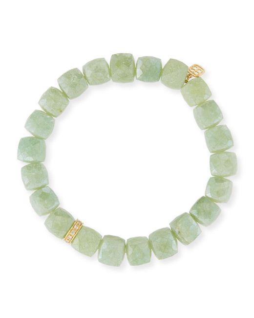 Sydney Evan - Green 8mm Aqua Cube Beaded Bracelet W/14k Diamond Charm - Lyst