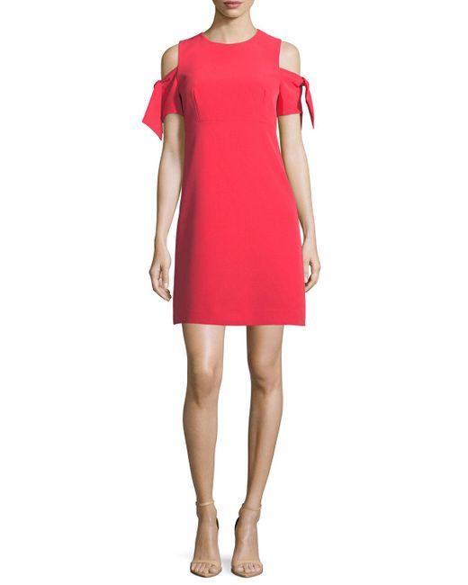 MILLY | Red Short Tie-sleeve Italian Cady Mod Minidress | Lyst