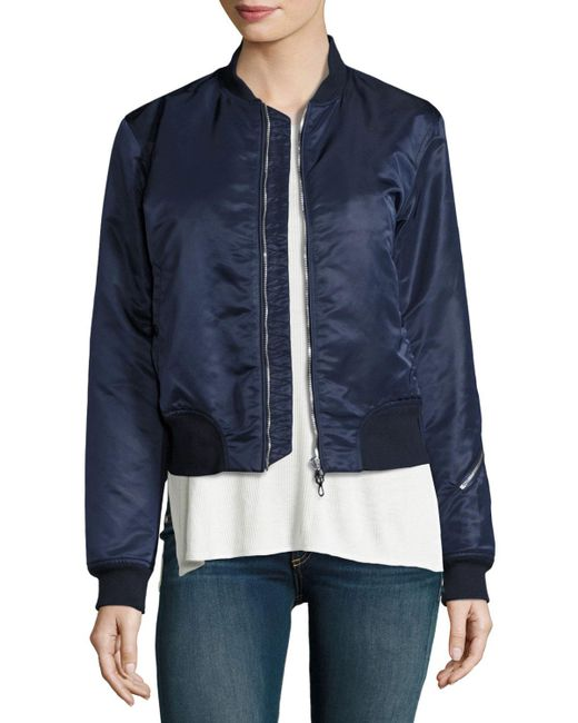 Rag & Bone | Blue Morton Satin Bomber Jacket | Lyst