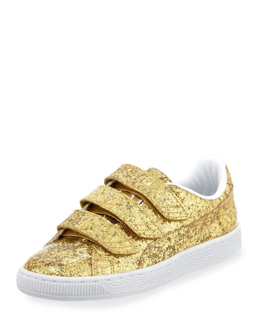 PUMA - Metallic Three-strap Glittered Low-top Sneakers - Lyst