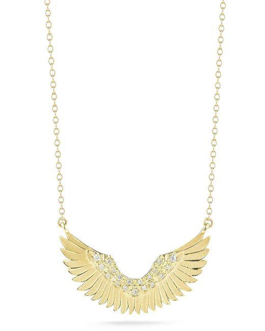Mizuki | Metallic Small 14k Gold Diamond Wing Pendant Necklace | Lyst
