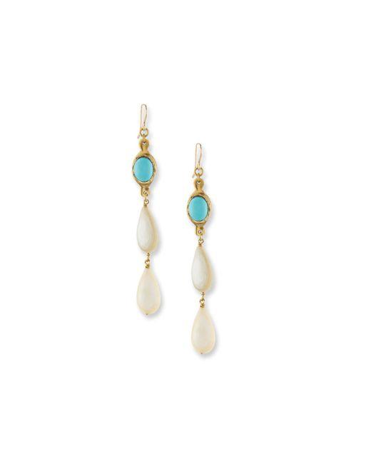 Ashley Pittman - Multicolor Penda Light Horn & Turquoise Drop Earrings - Lyst