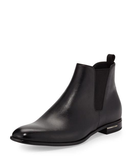 Prada | Black Saffiano Leather Chelsea Boot for Men | Lyst