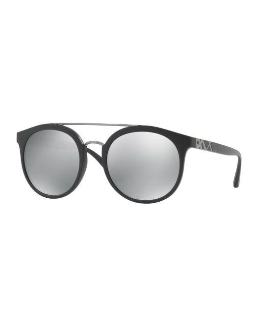 Burberry   Black Top Bar Polarized Round Frame Sunglasses   Lyst