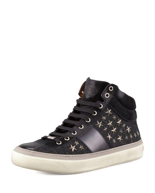 Jimmy Choo - Black Men's Star-studded Hi-top Sneakers for Men - Lyst