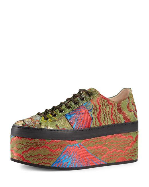 Gucci | Multicolor Peggy Jacquard Platform Sneaker | Lyst