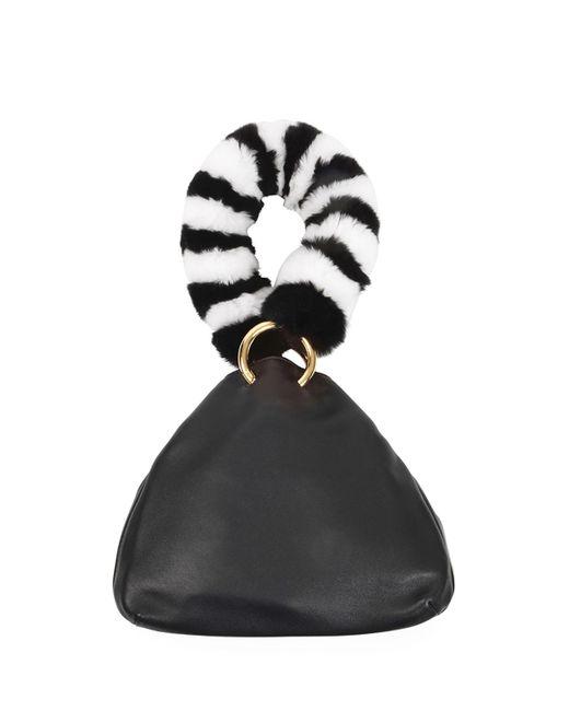 Les Petits Joueurs - Black Holly Leather Fur-handle Bag - Lyst