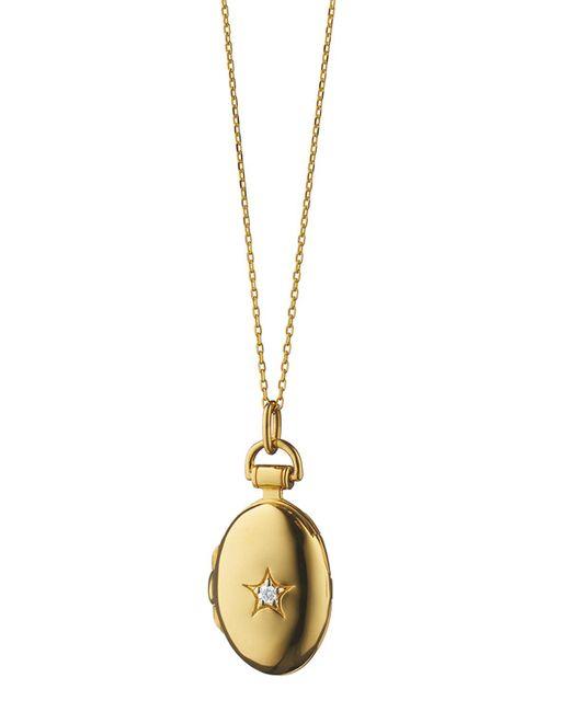 Monica Rich Kosann - Metallic 18k Yellow Gold Petite Oval Diamond Star Locket - Lyst