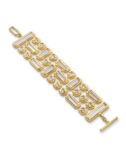 Monica Rich Kosann - Metallic Yellow Gold Mosaic 3-row Rock Crystal Bracelet - Lyst
