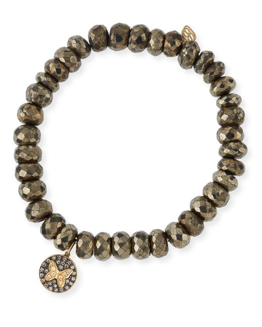 Sydney Evan | Metallic Champagne Pyrite Beaded Bracelet With Diamond Butterfly Medallion Charm | Lyst