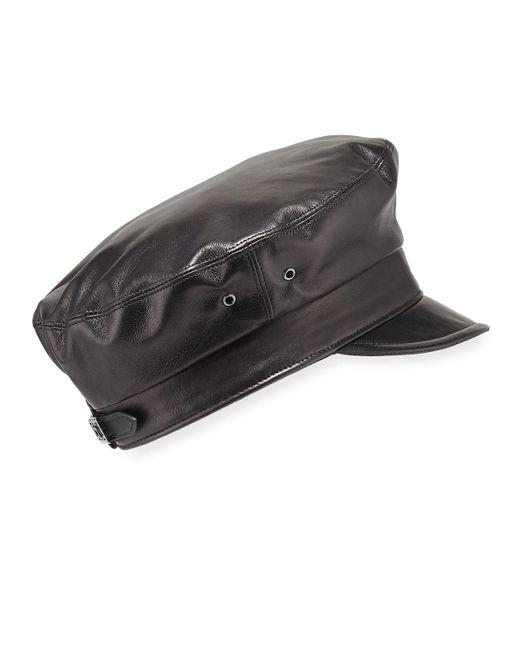 Eric Javits - Black Night Porter Leather Newsboy Cap - Lyst