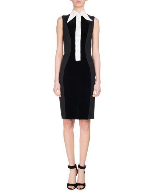 Givenchy | Black Velvet Jersey Dress W/contrast Placket | Lyst