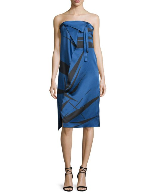 Halston Heritage | Blue Strapless Graphic Charmeuse Dress W/ Fold Details | Lyst