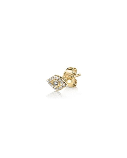 Sydney Evan | Metallic Single Mini Bezel Evil Eye Stud With Diamonds | Lyst