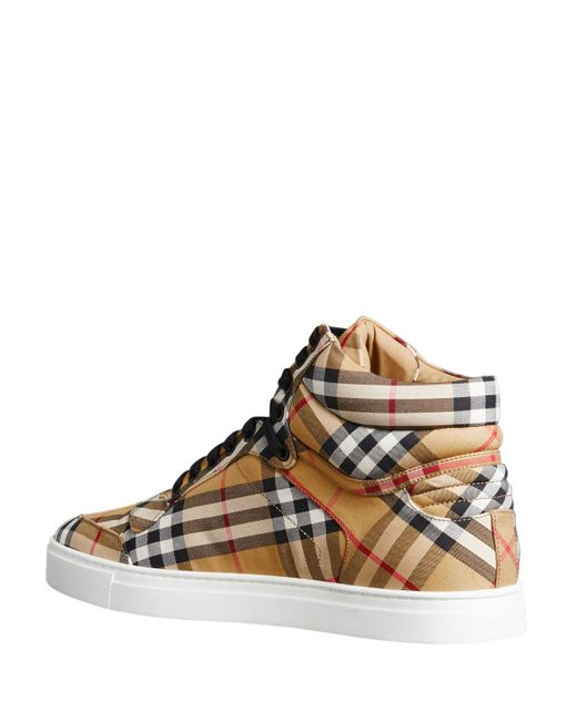 f3ed9b02b4b ... Burberry - Yellow Men s Reeth Signature Check Canvas High-top Sneakers  for Men ...