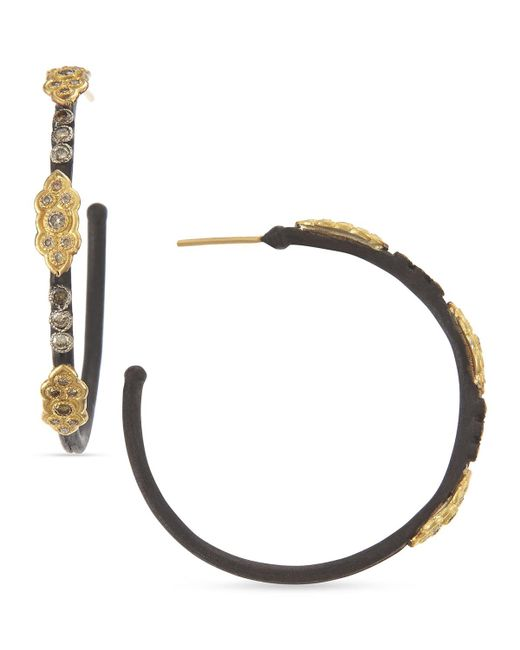 Armenta   Metallic 18k & Midnight Diamond Scrolls Hoop Earrings   Lyst