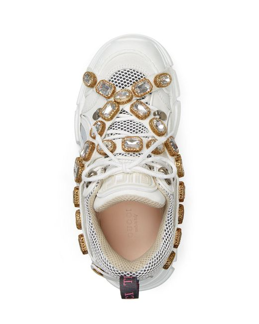 1385716365b Lyst - Gucci White Crystal Flashtrek Sneakers in White - Save 40%