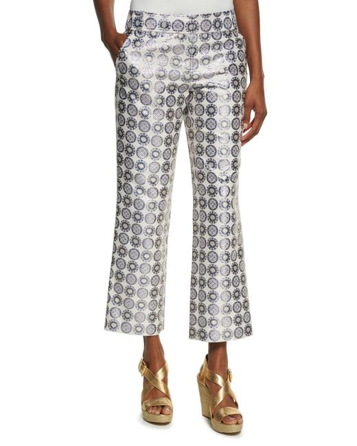 Tory Burch - Blue Cropped Medallion Jacquard Pants - Lyst
