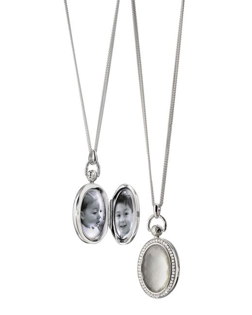 Monica Rich Kosann - Metallic Mother-of-pearl Locket Necklace - Lyst