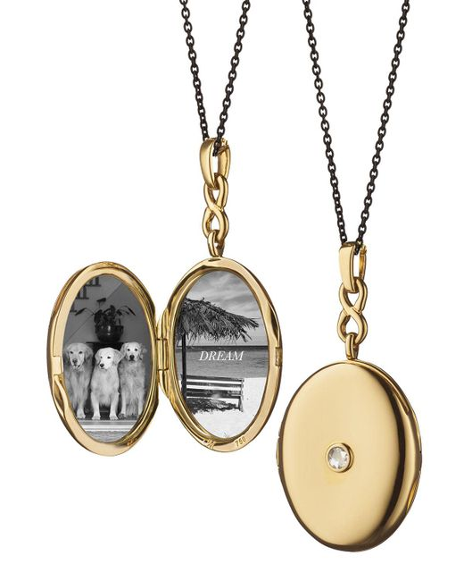 Monica Rich Kosann - Metallic 18k Gold Locket Necklace With Diamond Center - Lyst