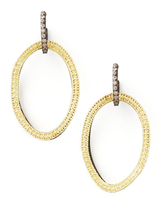 Armenta - Metallic Midnight Silver & 18k Gold Open-drop Earrings - Lyst