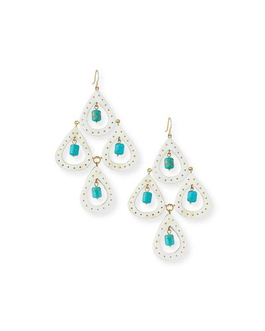 Ashley Pittman - Blue Jasiri Light Horn Tiered Drop Earrings - Lyst