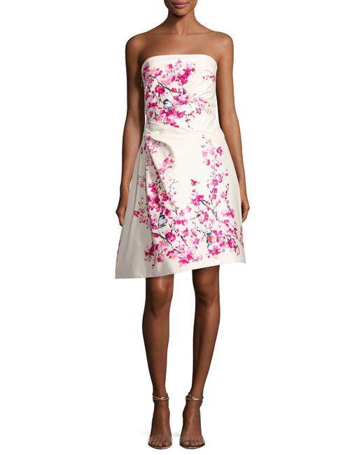 Monique Lhuillier | Pink Strapless Cherry Blossom-print Cocktail Dress | Lyst