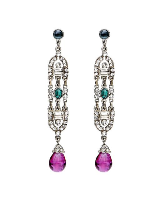 Ben-Amun - Multicolor Velvet Glamour Deco Drop Earrings - Lyst