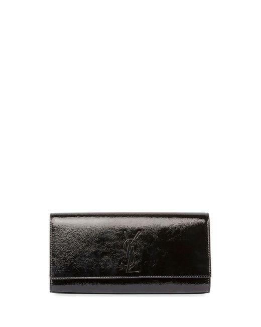 Saint Laurent | Black Kate Monogram Patent Leather Clutch Bag | Lyst