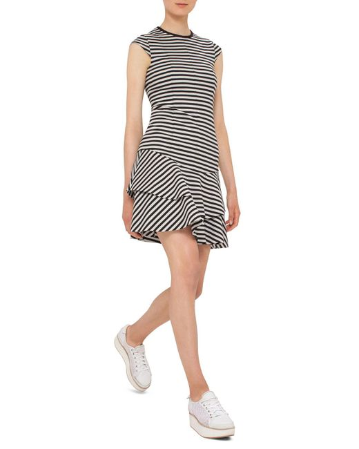 Akris Punto | Black Striped Cap-sleeve Flounce Dress | Lyst