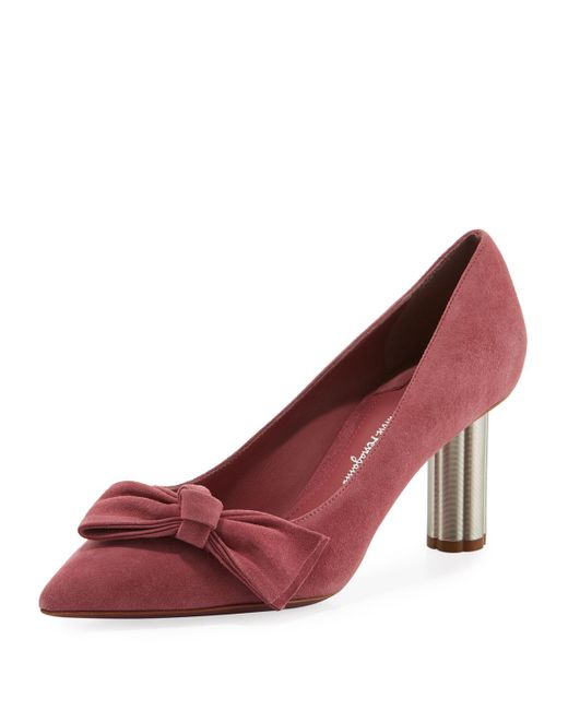 7b265f6a38b Ferragamo - Pink Suede 70mm Pumps With Bow - Lyst ...