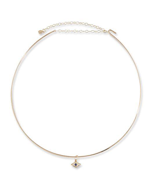 Sydney Evan - Metallic Mini Evil Eye Charm Collar Necklace In 14k Gold - Lyst