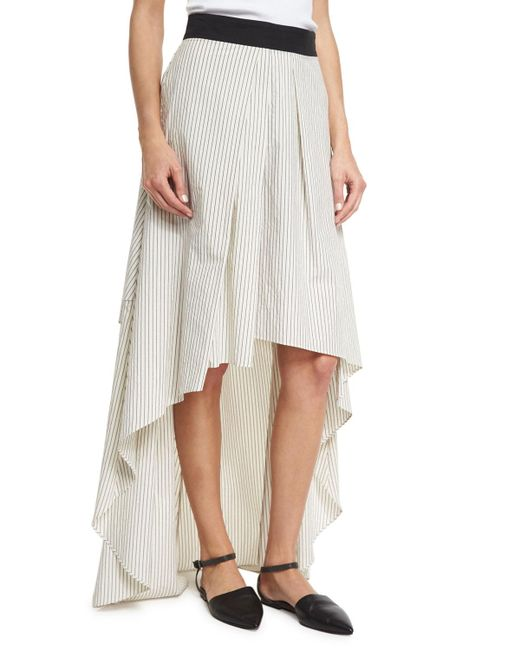 Brunello Cucinelli | Multicolor Striped High-low Maxi Skirt | Lyst