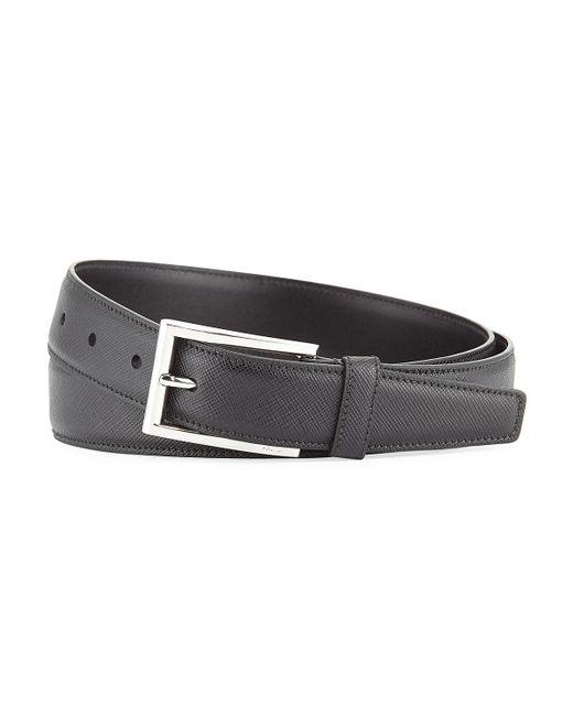 Prada - Black Saffiano Leather Belt for Men - Lyst