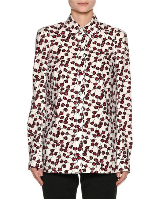 Marni - Red Printed Poplin Long-sleeve Blouse - Lyst