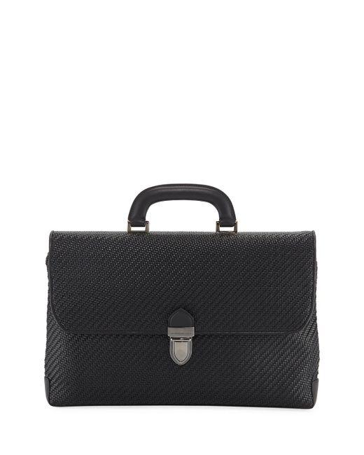 Ermenegildo Zegna - Black Men's Pelle Tessuta Flat Briefcase Business Bag for Men - Lyst