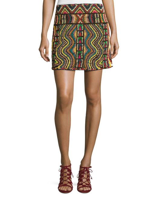 Valentino | Multicolor Geometric Beaded Mini Skirt | Lyst