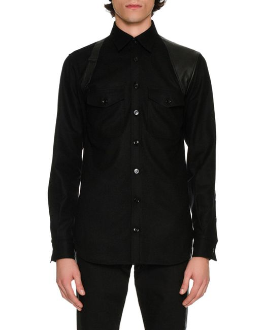 Alexander McQueen | Black Wool Flannel Shirt With Leather Harness for Men | Lyst