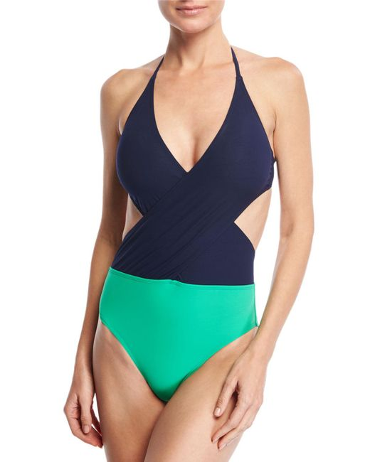 Tory Burch | Blue Colorblock Wrap-front One-piece Swimsuit | Lyst
