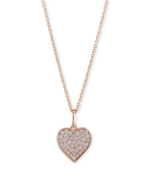 Sydney Evan - Metallic Small Anniversary 14k Rose Gold Heart Pendant Necklace With Diamonds - Lyst