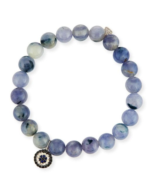 Sydney Evan   Blue 8mm Beaded Iolite Bracelet With Sapphire & Diamond Charm   Lyst