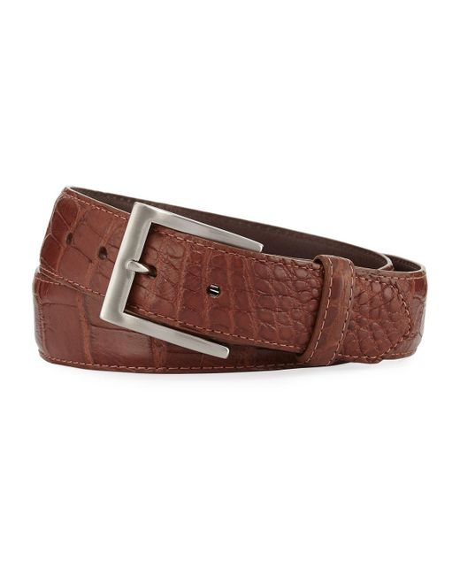 W. Kleinberg | Brown Matte Alligator Belt With Interchangeable Buckles for Men | Lyst