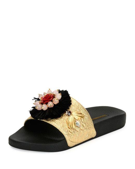 Dolce & Gabbana   Black Metallic Jacquard Slide Sandal   Lyst